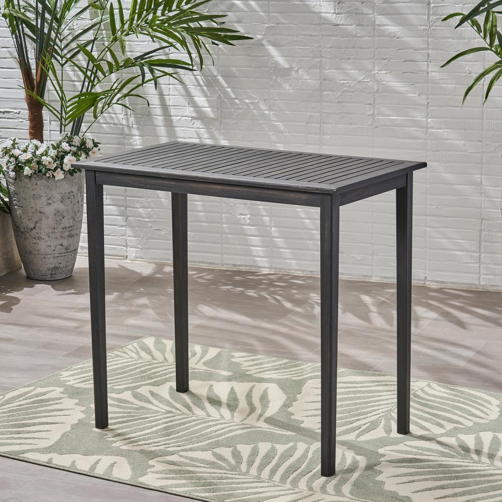 Polaris 41 in. Dark Grey Rectangular Wood Outdoor Bistro Table