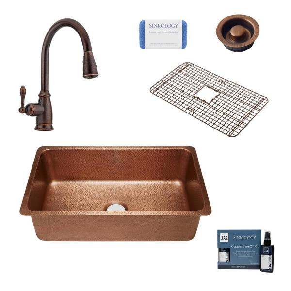David All-In-One David Undermount Copper 31.25 in. Single Bowl Copper Kitchen Sink with Pfister Bronze Faucet and Drain