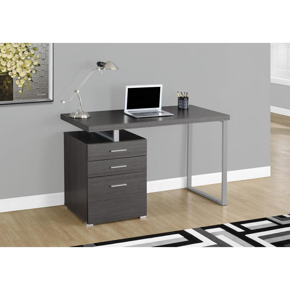 Monarch Specialties Gray Desk With File Cabinet