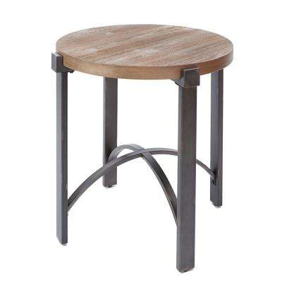 Lewis Gray and Brown Round Wood Top End Table