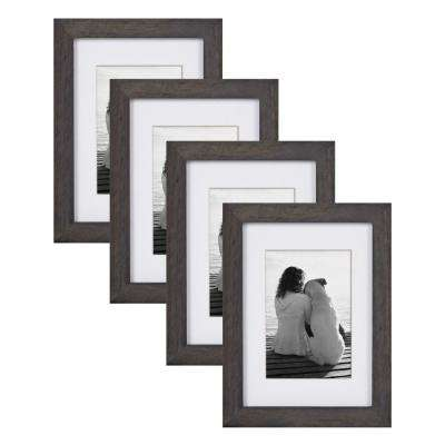 Gallery 5 in. x 7 in. Matted to 3.5 in. x 5 in. Gray Picture Frame (Set of 4)