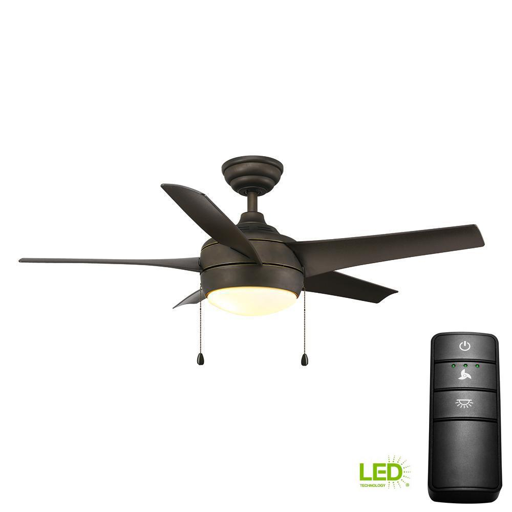 Hampton Bay Wellston 44 In Led Indoor Oil Rubbed Bronze Ceiling Fan Your Biggest Installing A Light Kit On An Existing With