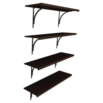 4 in. D x 12 in. W x 84 in. H Espresso Wood Wall Mount Closest System