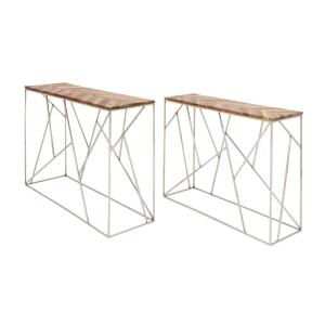 Modern Stainless Steel And Wood Nesting Console Tables (Set Of 2)