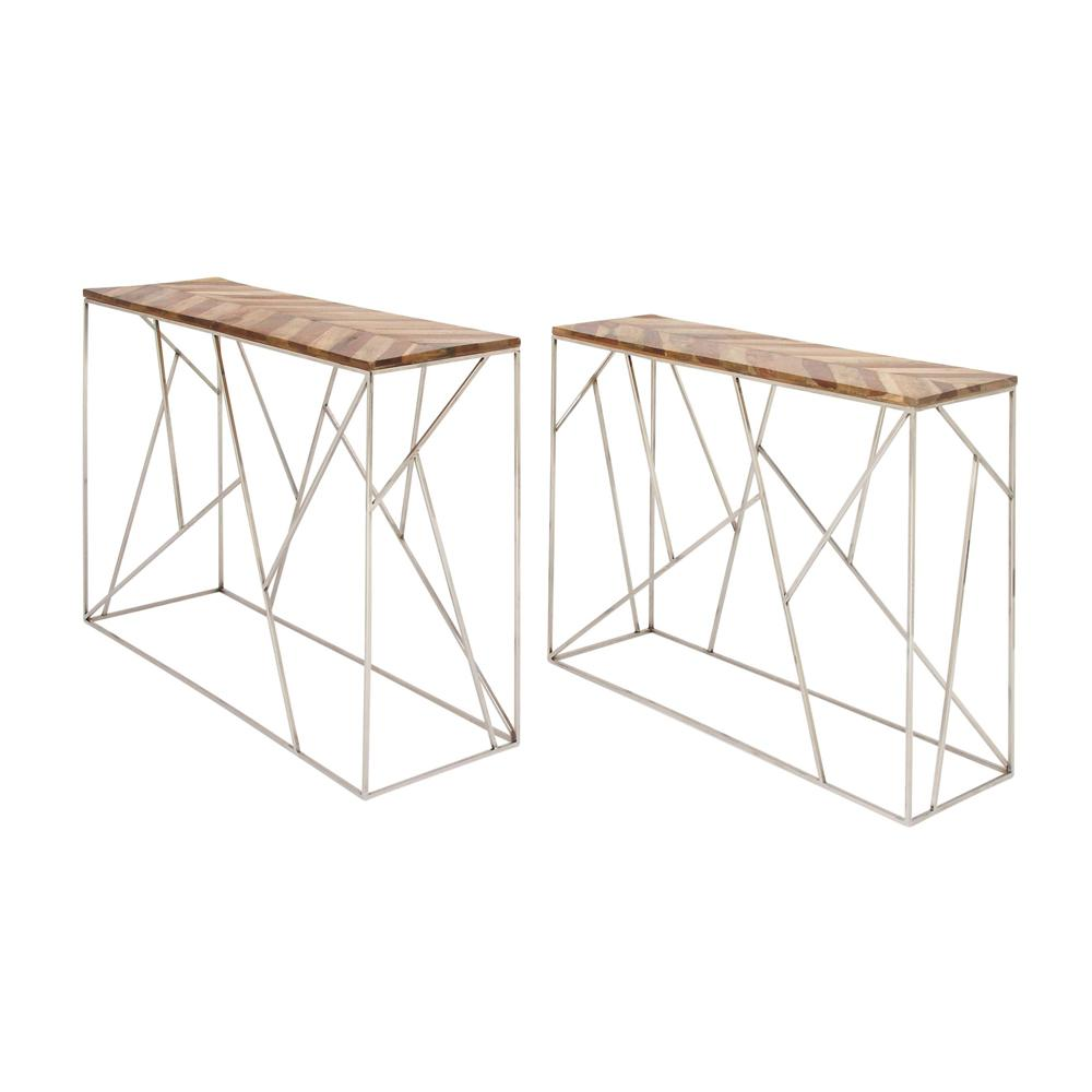 Litton Lane Modern Stainless Steel And Wood Nesting Console Tables (Set Of  2)
