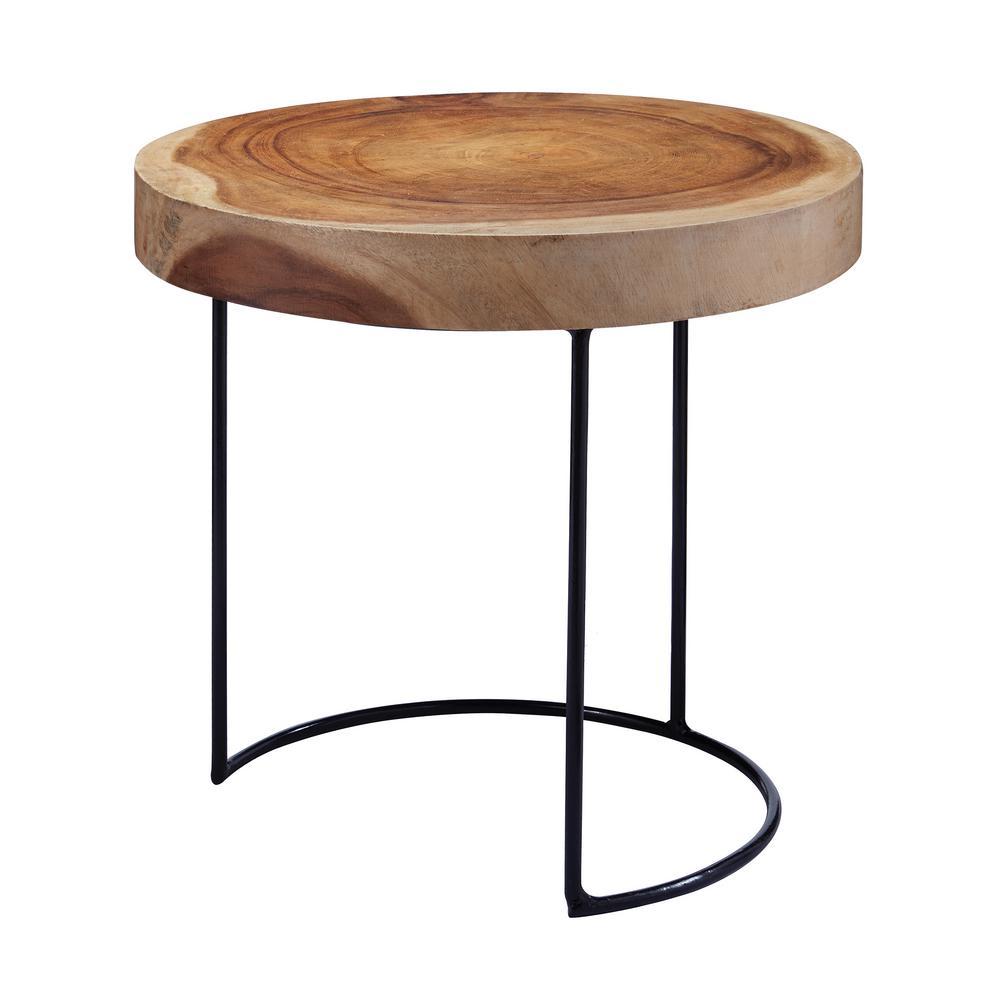Natural Finish Wood Slab Side Table