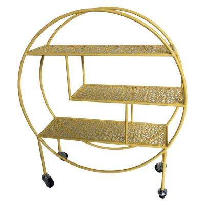 7 in. x 23.25 in. Metal Storage Rack with Wheel in Yellow