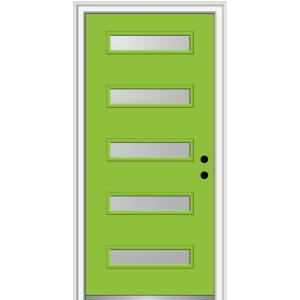 32 in. x 80 in. Davina Left-Hand Inswing 5-Lite Frosted Glass Painted Steel Prehung Front Door on 4-9/16 in. Frame