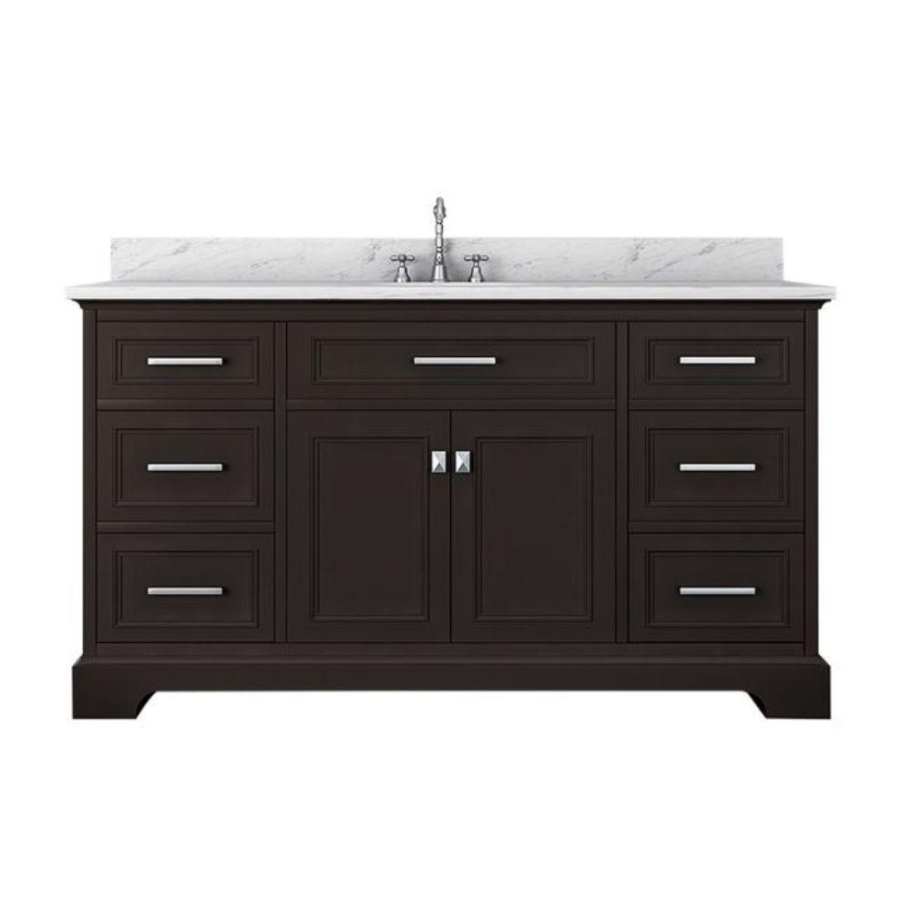 Alya Bath Yorkshire 61 in. W x 22 in. D Single Bath Vanity in Espresso with Marble Vanity Top in White with White Basin