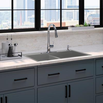 Vault Drop In/Undermount Stainless Steel 33 in. 1-Hole Double Bowl Kitchen Sink with Simplice Faucet