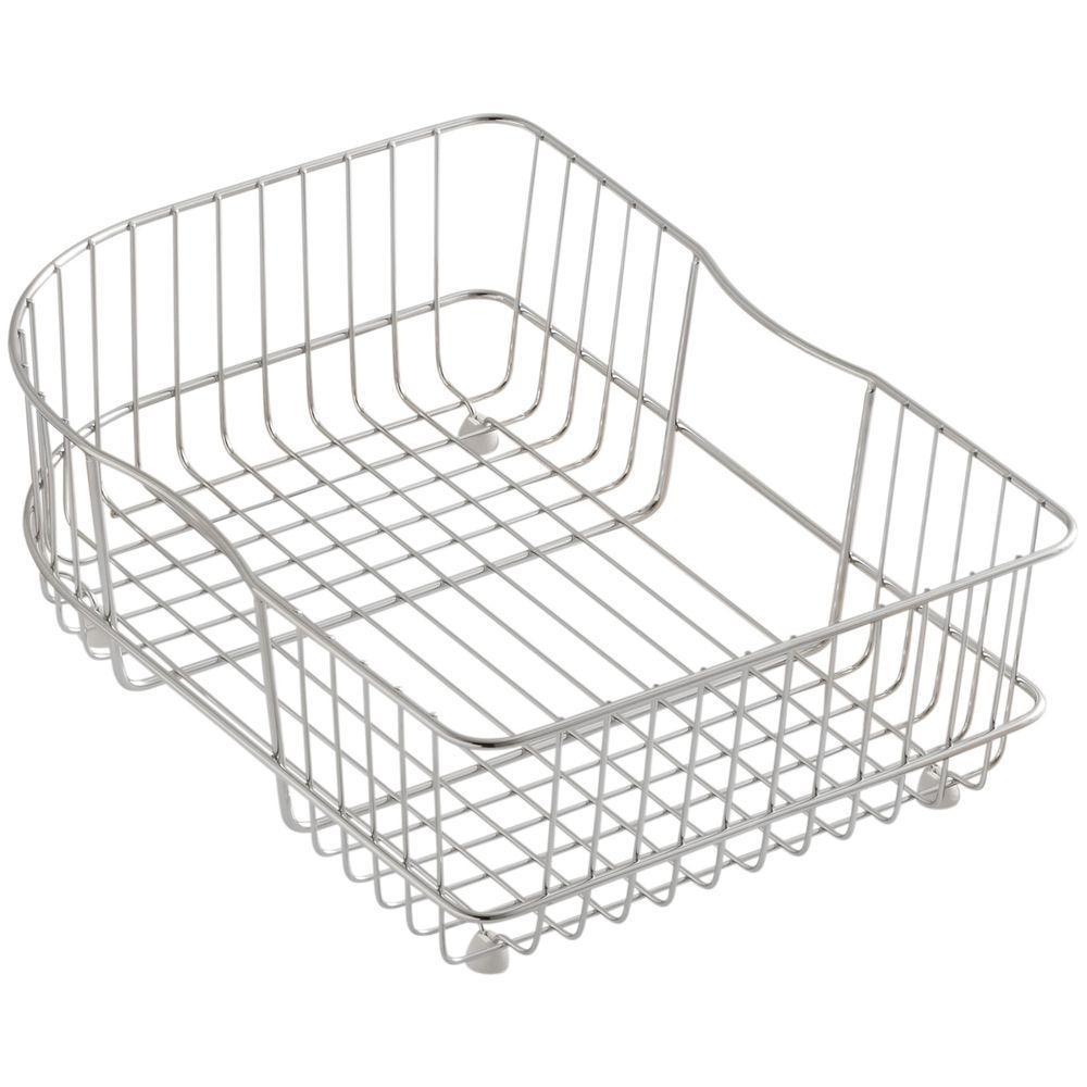 KOHLER Efficiency 15-3/4 in. x 11-1/2 in. Rinse Basket for Right-Hand Bowl Sinks in Stainless Steel