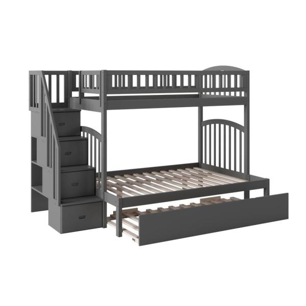 Atlantic Furniture Westbrook Grey Twin Over Full Staircase Bunk with Twin Size Urban Trundle Bed