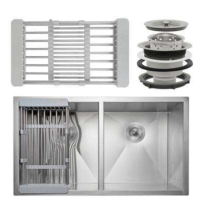 Handcrafted All-in-One Undermount Stainless Steel 33 in. Double Bowl Kitchen Sink with Tray and Drain