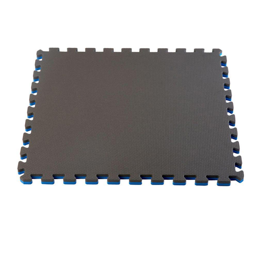 Blue/Black 24 in. x 24 in. EVA Foam Multi-Purpose Reversible Interlocking Tile (12-Tile)