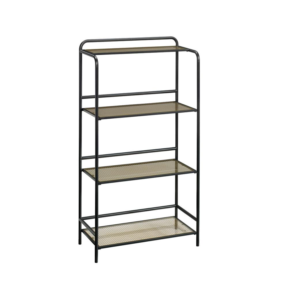 52.16 in. Black Metal 4-shelf Accent Bookcase with Open Back