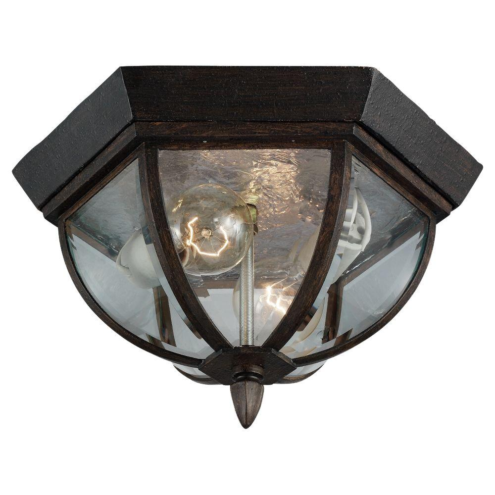 Sea Gull Lighting Ardsley Court 2-Light Outdoor Ceiling Textured Rust Patina Fixture