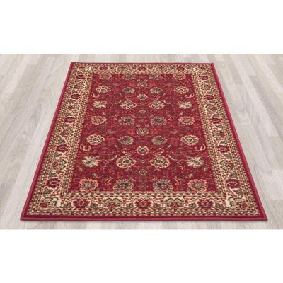 Ottohome Collection Traditional Floral Design Dark Red 8 ft. x 10 ft. Area Rug