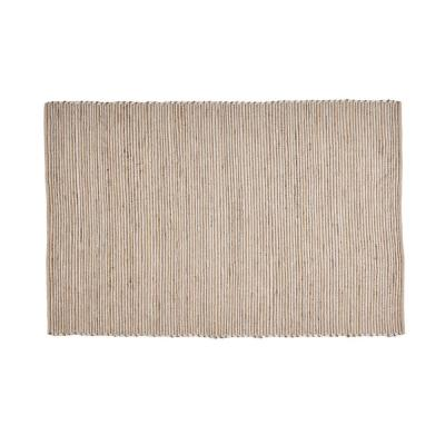 Jayes Natural and Silver 5 ft. x 8 ft. Solid Hemp and PU Area Rug