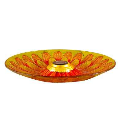 Solar Glass Sunflower Birdbath