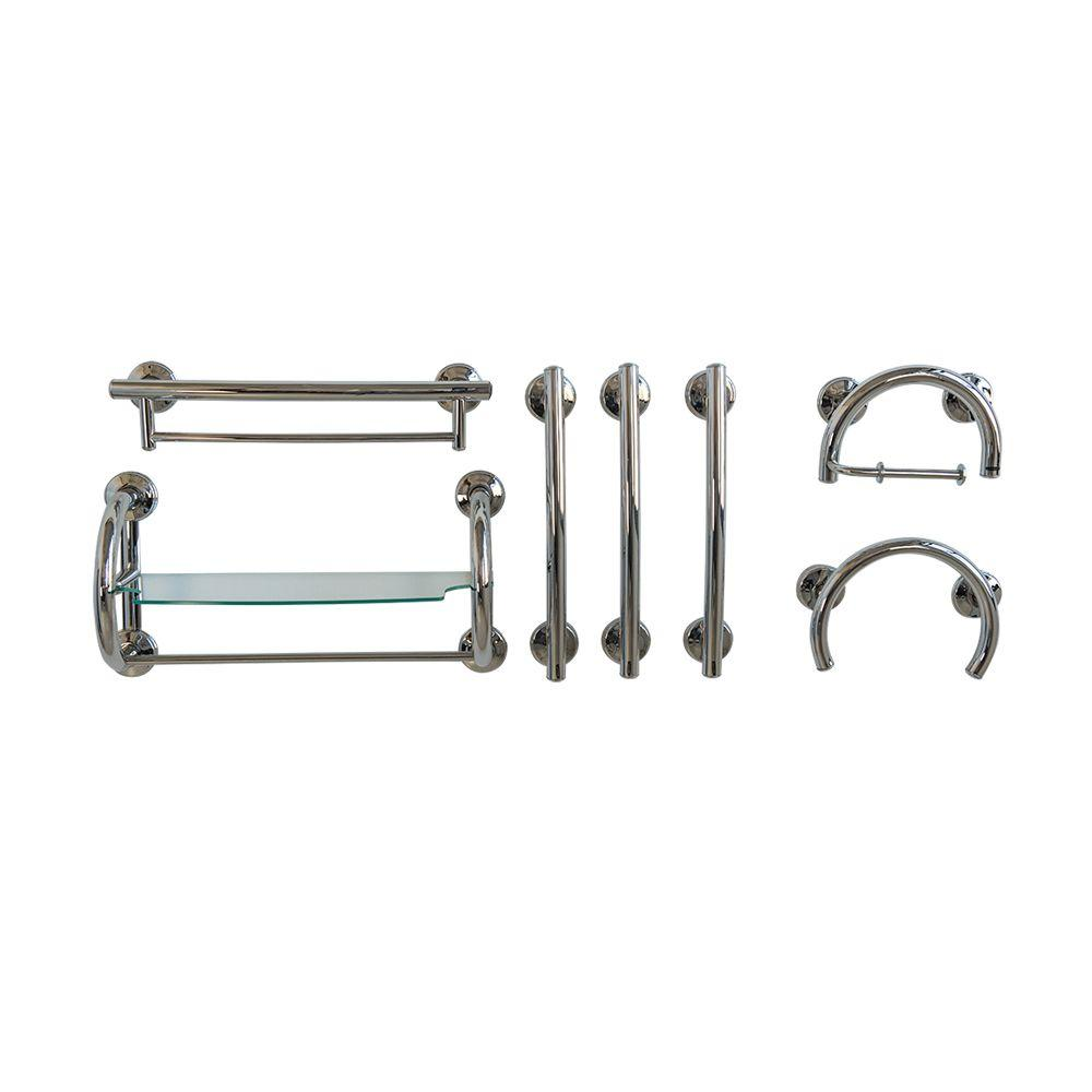 Ella 7-Piece SafeGrip Grab Bar Accessory Package in Chrome