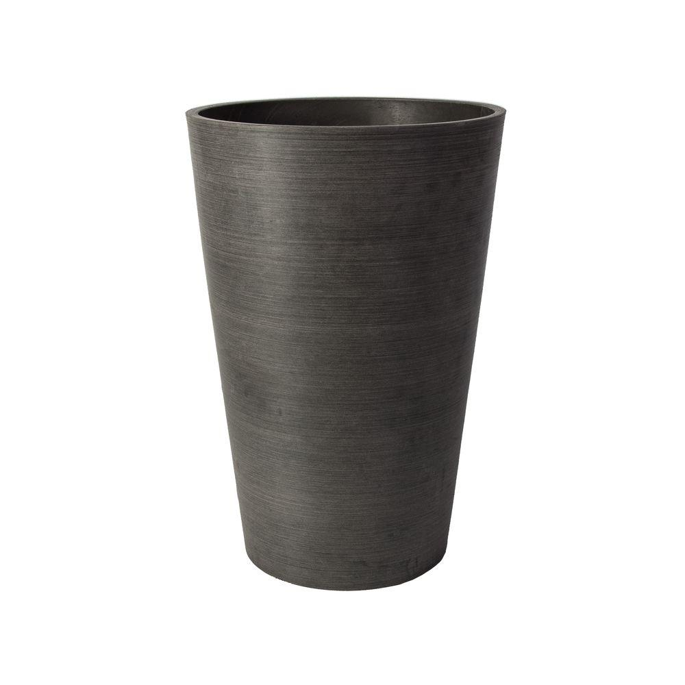 Valencia 16 in. Round Textured Charcoal Polystone Planter