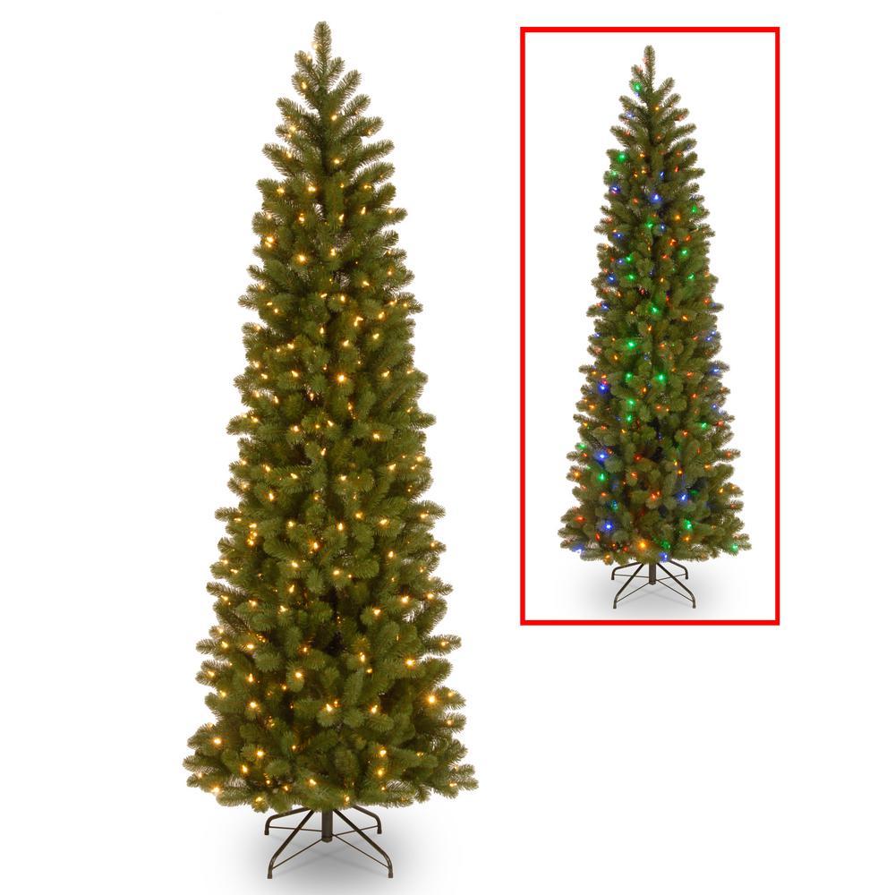 9 ft. Downswept Douglas Pencil Slim Fir Artificial Christmas Tree with Dual Color LED Lights