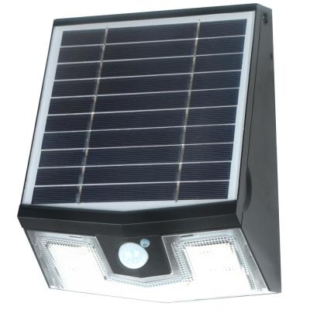 50-Watt Equivalent Integrated LED Black Motion Sensing Outdoor Solar Wall Pack Light, 700 Lumens, 4000K, 50 LEDs