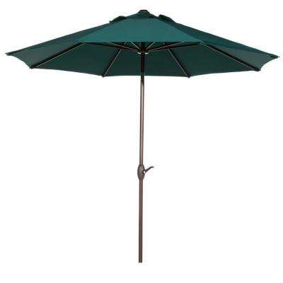 9 ft. Outdoor Market Table Umbrella with Push Button Tilt and Crank Patio Umbrella in Dark Green