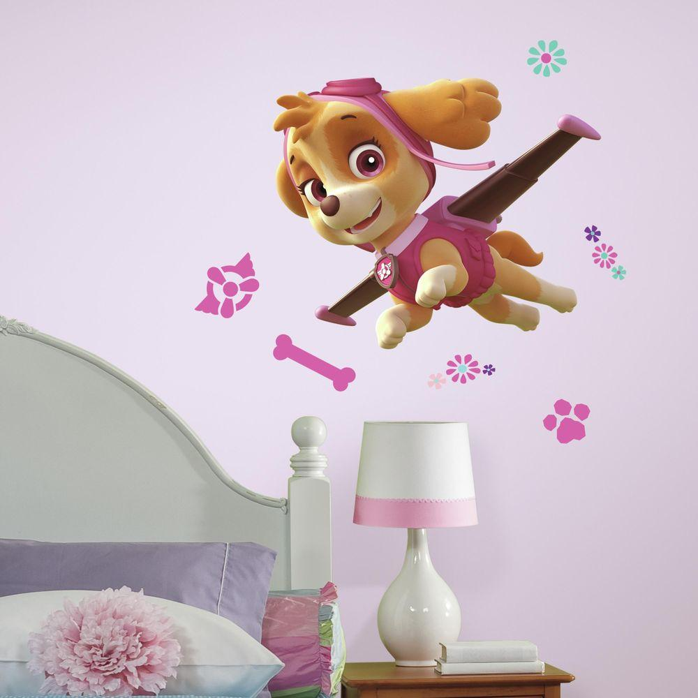 fe7710bb605 H Paw Patrol Skye 10-Piece Peel and Stick Giant Wall Decal-RMK3123GM - The  Home Depot