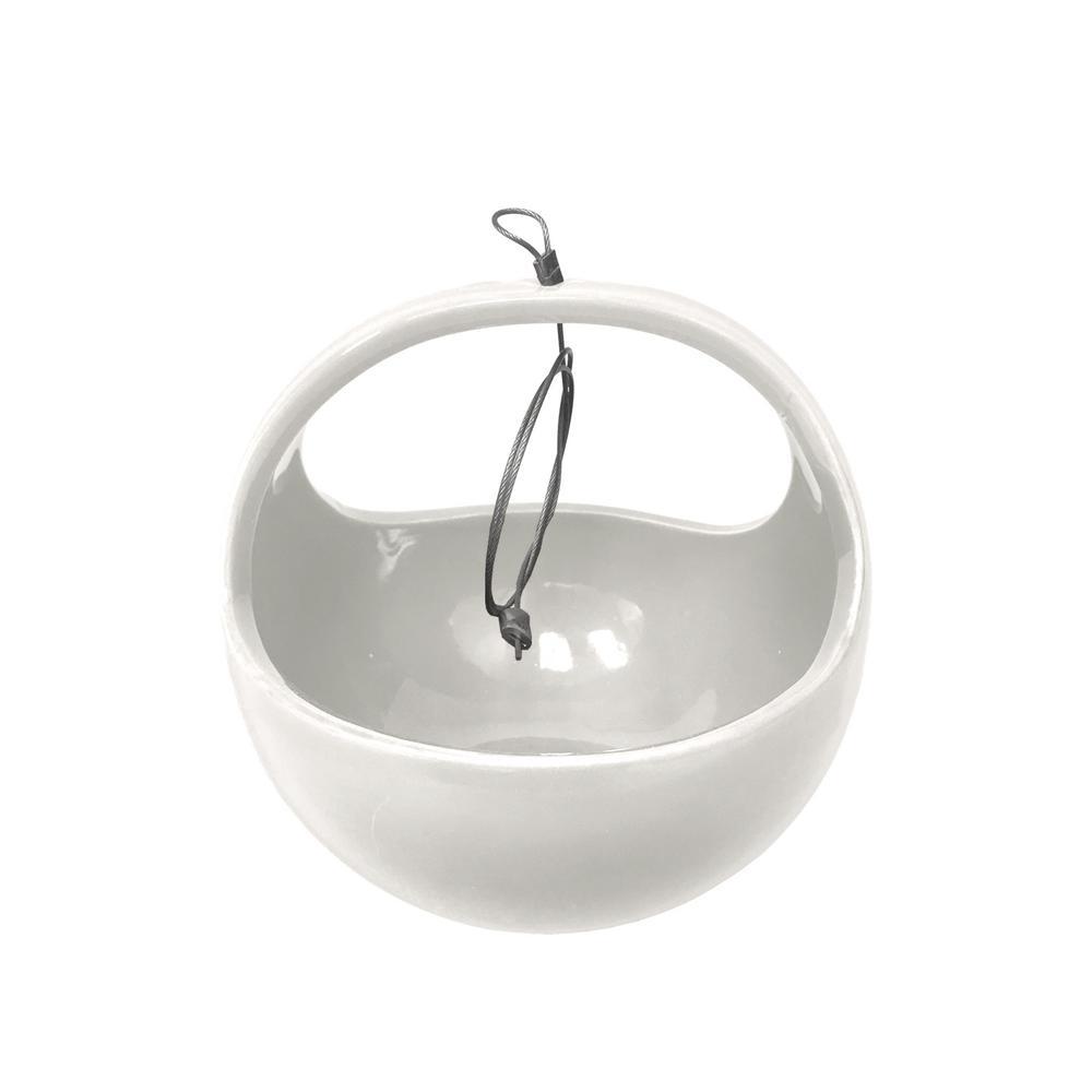 Basket 4-1/2 in. x 4-1/2 in. Gloss White Ceramic Hanging Planter