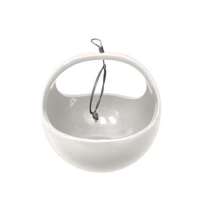 Basket 4-1/2 in. x 4-1/2 in. Gloss White Ceramic Hanging Planter