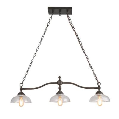 3-Light Rust Bronze Chandelier with Clear Glass Shade