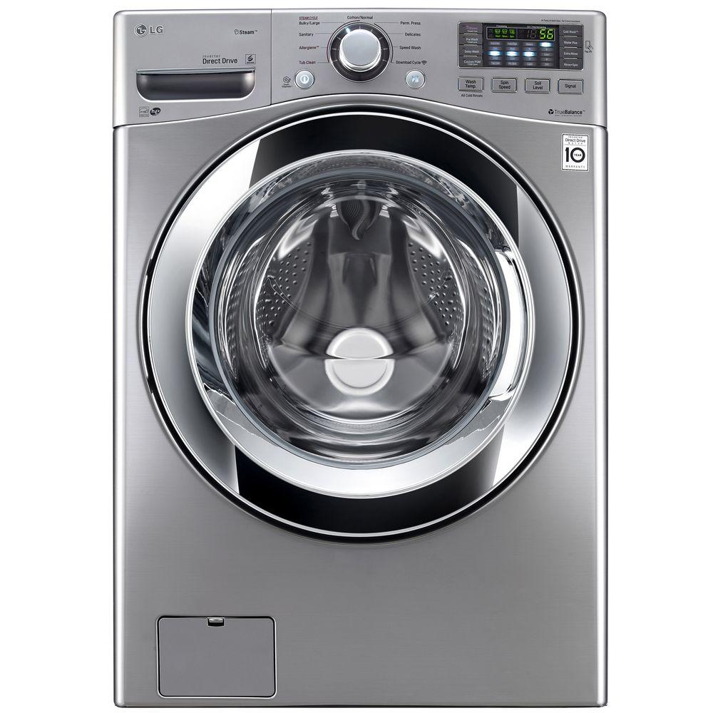 lg washer and dryer. high efficiency front load washer with steam in graphite steel, lg and dryer