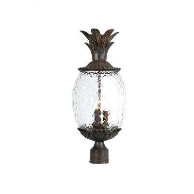 Lanai Collection Post-Mount 3-Light Outdoor Black Coral Light Fixture