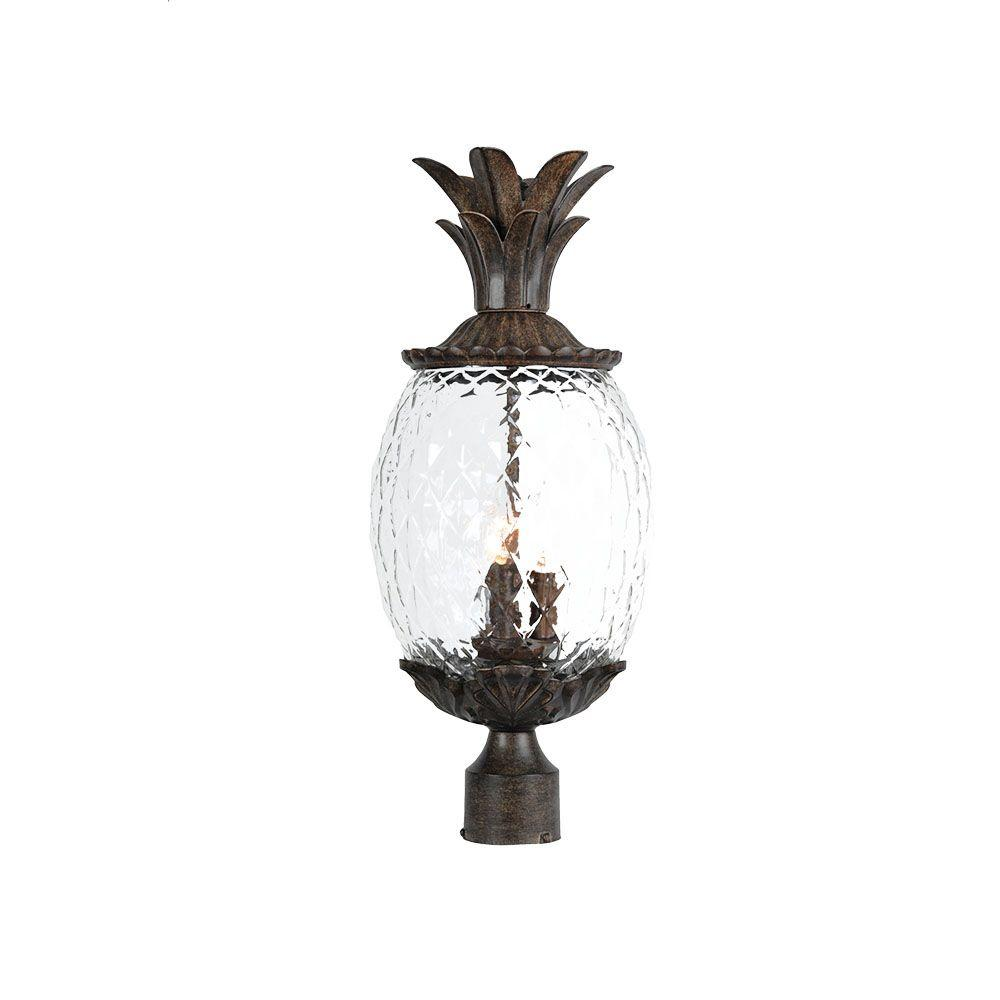 Acclaim Lighting Lanai Collection Post Mount 3 Light Outdoor Black Coral Light Fixture 7517bc The Home Depot