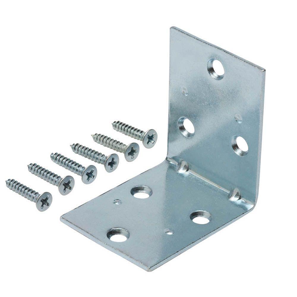 2 in. Zinc-Plated Double-Wide Corner Brace (2-Pack)