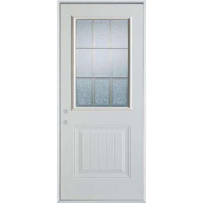 36 in. x 80 in. Geometric Glue Chip and Zinc 1/2 Lite 1-Panel Painted Right-Hand Inswing Steel Prehung Front Door