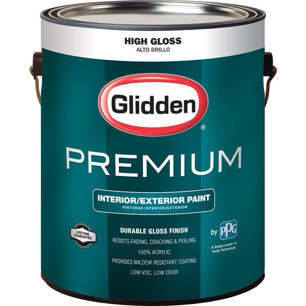 Glidden premium 1 gal high gloss interior and exterior paint gl7111 01 the home depot - Exterior white gloss paint image ...