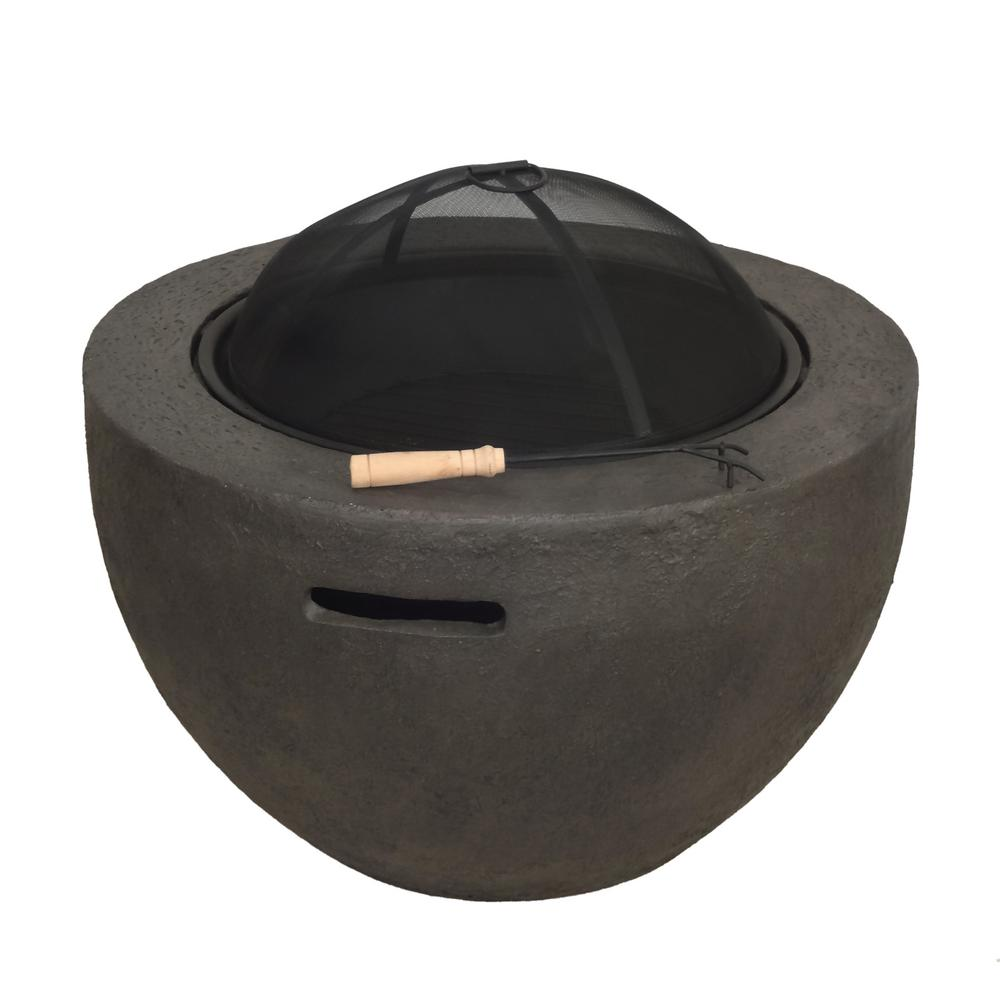 Noble House Fatima 32 in. x 20 in. Round MGO Wood Burning Fire Pit in Brown