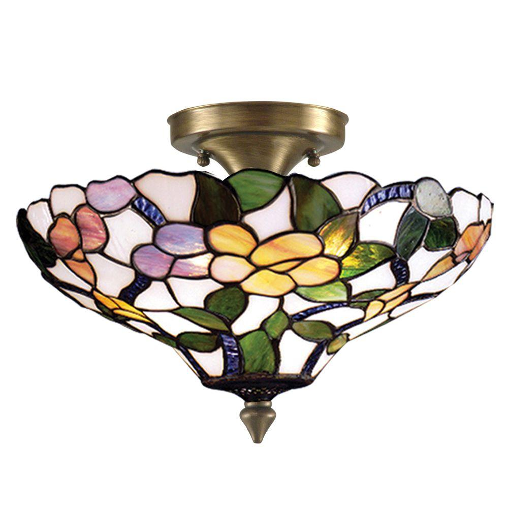 Peony 3-Light Antique Brass Semi Flush Mount