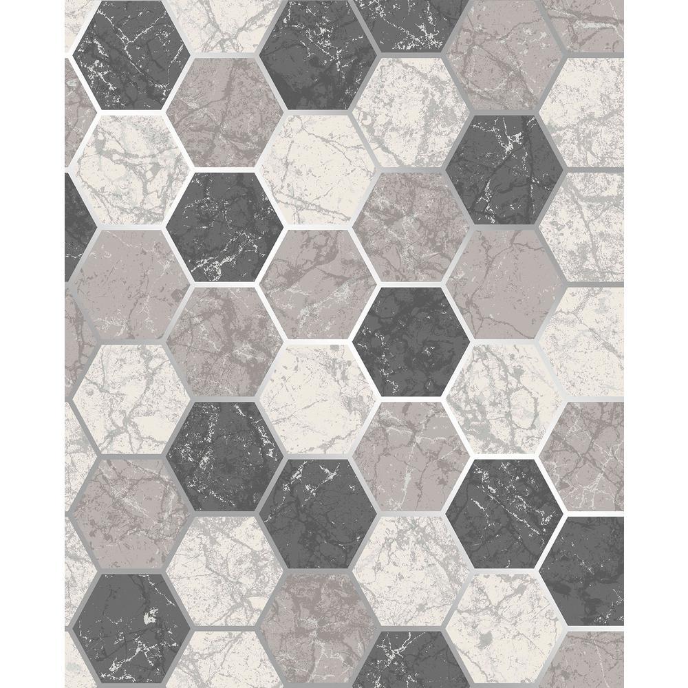 Margaret Charcoal Marble Hexagon Wallpaper