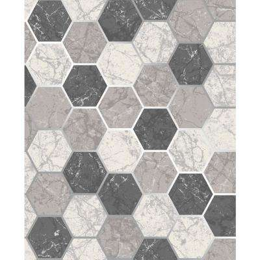 Margaret Charcoal Marble Hexagon Wallpaper Sample