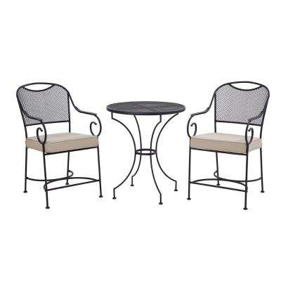 Birkdale 3-Piece Metal Outdoor Balcony Height Bistro Set with Neutral Cushions