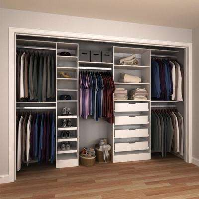 15 in. D x 180 in. W x 84 in. H Melamine Reach-In Closet System Kit in White