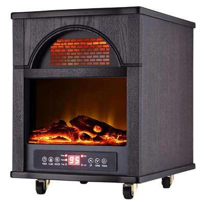 1500-Watt 4-Element Infrared Electric Portable Heater with Remote Control and Fireplace and Bluetooth Speaker