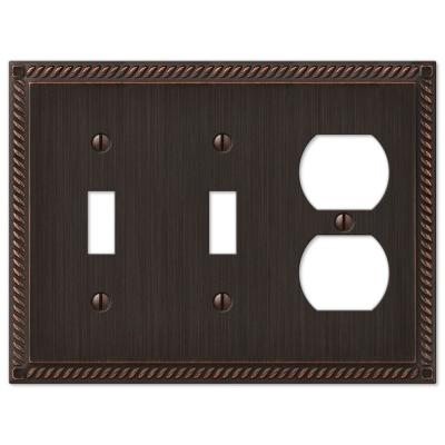Georgian 3 Gang 2-Toggle and 1-Duplex Metal Wall Plate - Aged Bronze