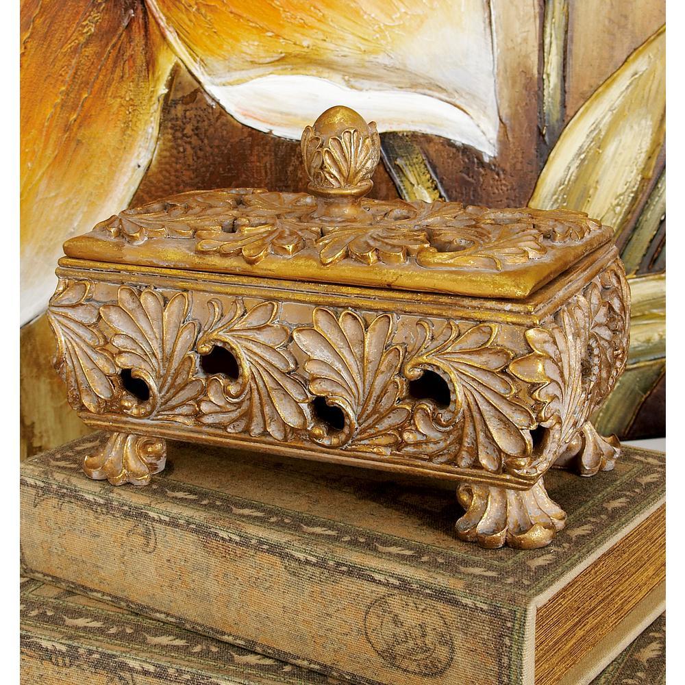 10 in. x 7 in. Old World Tarnished Gold Polystone Resin Treasure Box