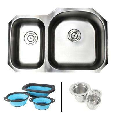 Undermount 16-Gauge Stainless Steel 31-1/2 in. 30/70 Double Bowl Kitchen Sink in Satin Pearl with Silicone Colanders