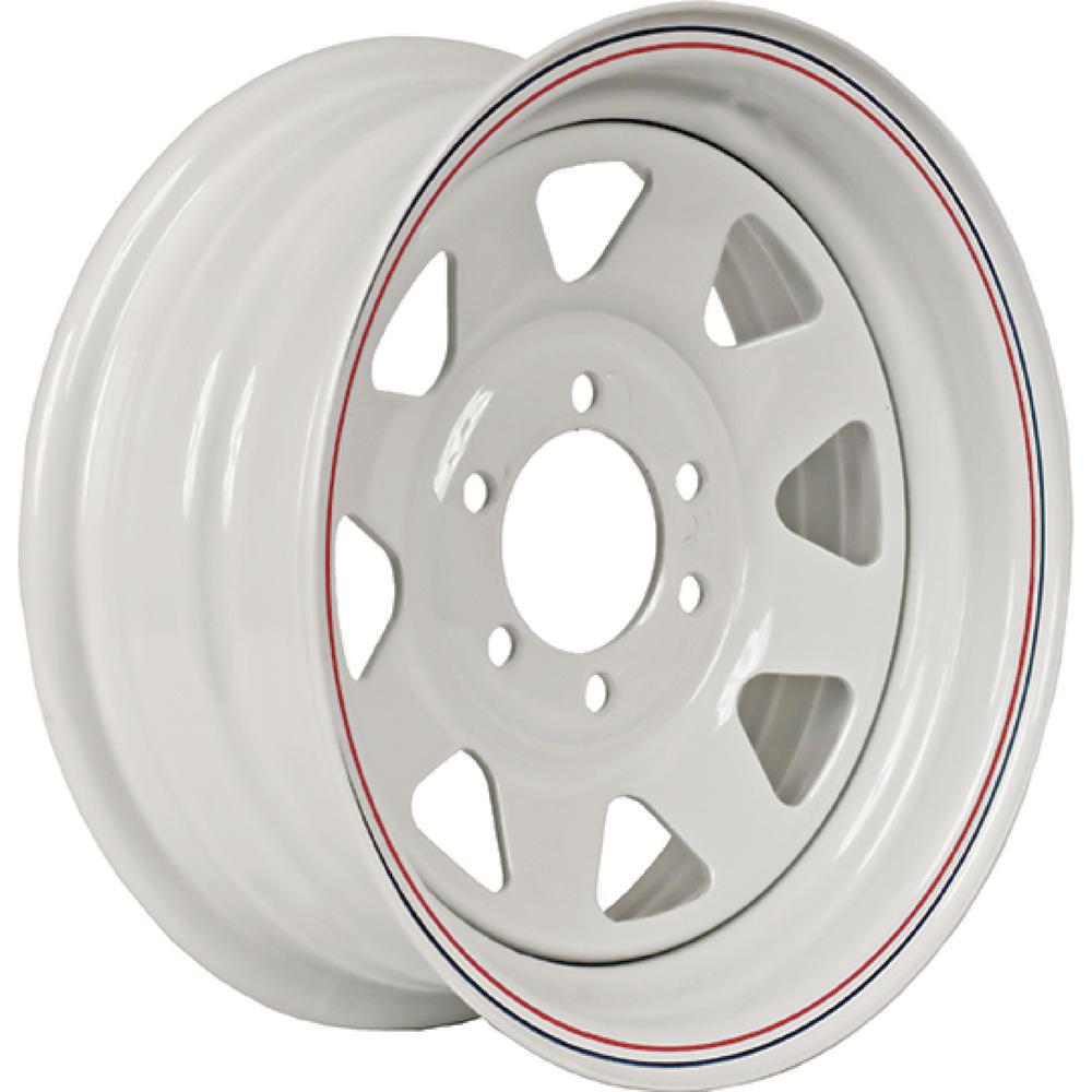 Loadstar 2830 lb. Load Capacity White with Stripe Eight Spoke Steel Wheel Rim