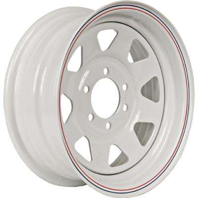 2830 lb. Load Capacity White with Stripe Eight Spoke Steel Wheel Rim
